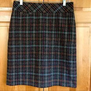 L.L.Bean Andover Sable Brown Plaid Wool Skirt 8